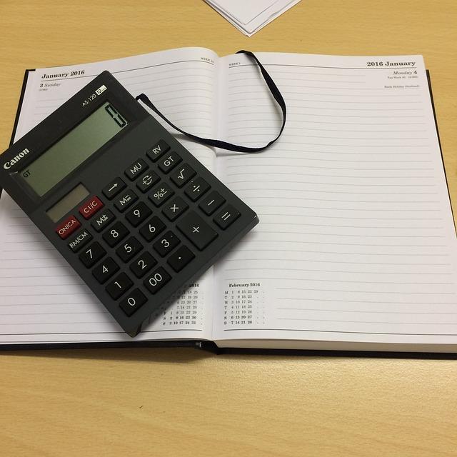 kalkulačka a blok