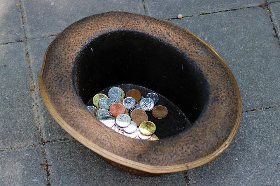 vyžebrané mince